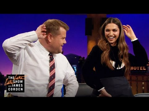 "<p>Deepika Padukone in ""The late late show with James Corden""&nbsp;</p>"