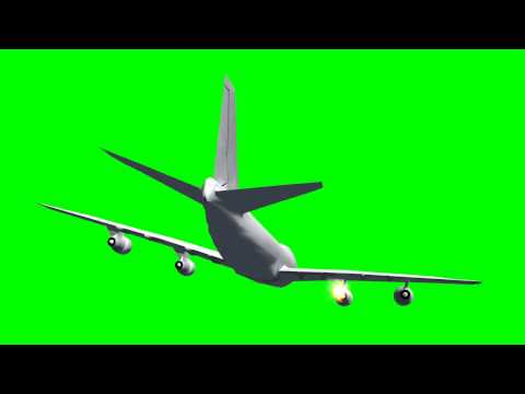 Green Screen AIRPLANE with ENGINE ON FIRE