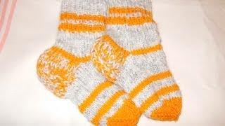 Вязание спицами носки для детей-малышей (детские носочки)