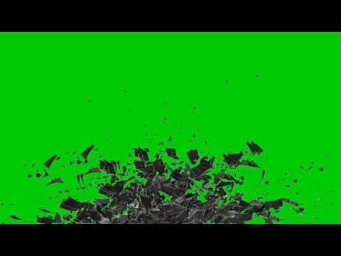 rubble heap flying apart - green screen effect