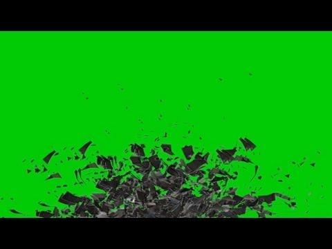 rubble heap flying apart - green screen effect