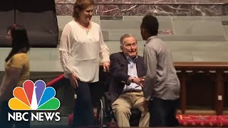 George H. W. Bush Shakes Mourners Hands As Barbara Buss Lies In Repose | NBC News - NBCNEWS