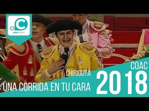 Sesión de Preliminares, la agrupación Una corrida en tu cara actúa hoy en la modalidad de Chirigotas.