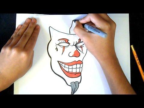 como desenhar um palhaço máscara | Grafite
