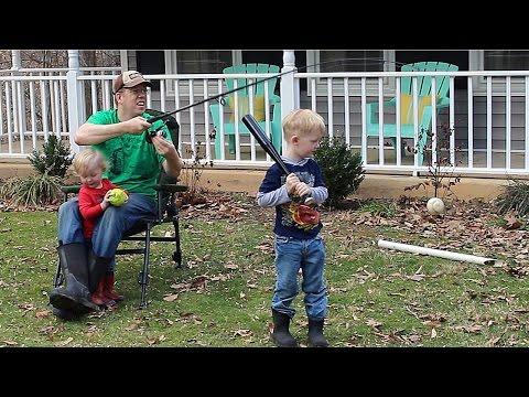 Fishing rod baseball - how to teach kids to baseball - T-ball tips