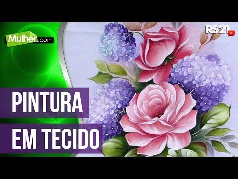Mulher.com 29/05/2014 - Pintura de tecido rosas hortencias por Ana Laura Rodrigues Parte 1