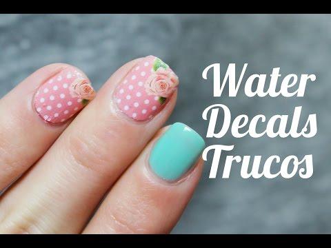 Cómo colocar water decals o calcomanías al agua en las uñas | Trucos de nail art
