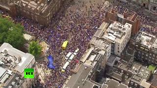 Drone footage: Massive march in London on Brexit referendum 2nd anniversary - RUSSIATODAY