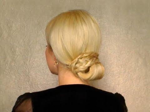 Elegant low bun braided hairstyles for long hair work office party wedding bridesmaid boho chic