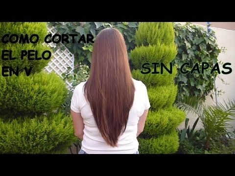 COMO CORTAR EL PELO EN V SIN CAPAS / HOW TO CUT HAIR IN V WITHOUT LAYERS
