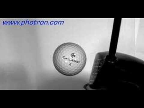 Hi-speed video of a golf ball compressed by driver