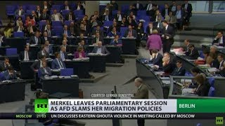 Merkel walks out of parliament as AfD leader slams her migration policies - RUSSIATODAY