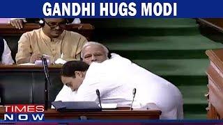BREAKING NEWS: Rahul Gandhi HUGS PM Modi - Full Video Footage - TIMESNOWONLINE