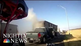 Dramatic Body Cam Video Captures Texas Deputy Saving Man From Burning Car | NBC Nightly News - NBCNEWS