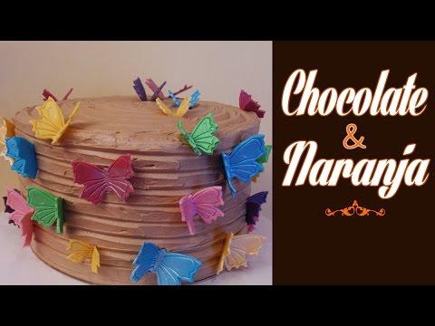 Pastel de chocolate y naranja decorado con fondant