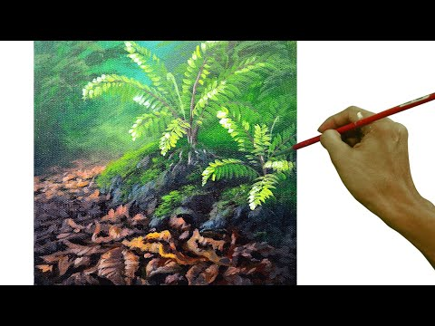 how to paint ferns and dried leaves in acrylic