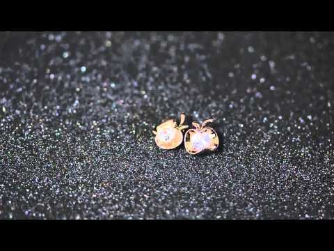 Venus Jewelry Store - Earring - Gold Plated Natural-Gem Apple-shaped Earring