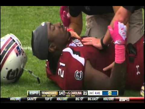 Gruesome Marcus Lattimore leg Injury vs. Tennessee (hurts his knee looks broken) Oct. 27, 2012