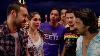 Tusshar Kapoor strikes the pool ball on Kareena Kapoor - Golmaal 3