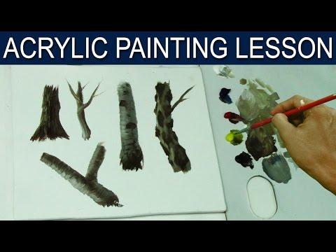 painting basic tree trunks