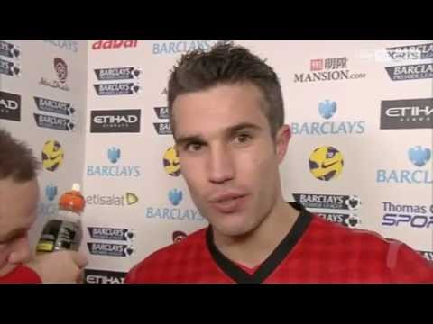 Manchester City Vs Manchester United 2-3 SKY Sports Interview Robin Van Persie & Rooney 2012-12-09