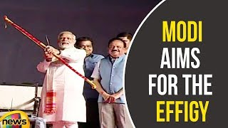 PM Modi Aims for the Effigy At Ramlila Ground For Ravana Dehan | Modi Latest News | Mango News - MANGONEWS