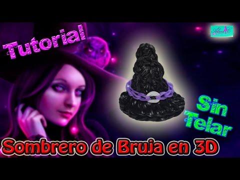 ♥ Tutorial: Sombrero de Bruja en 3D (sin telar) ♥