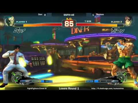 SSF4 AE2012 LOSERS 1st Round - Dan vs Thomas - Fight Fighters - Event III