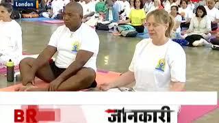 Baba Ramdev performs yoga in London's Olympia West Hall - ZEENEWS