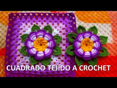 Cuadrado o grany square con flor rosita lila tejida a crochet y hojitas paso a paso