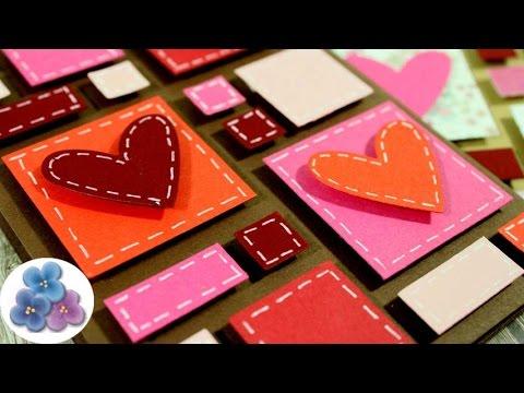 Como Hacer Tarjeta de San Valentin con Recortes Reciclaje de Papel Tutorial DIY Pintura Facil