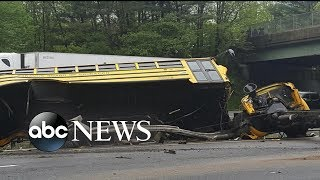 2 killed, several injured after school bus collides with dump truck - ABCNEWS