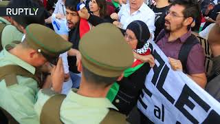 Palestinian community holds demonstration in front of US Embassy in Chile - RUSSIATODAY