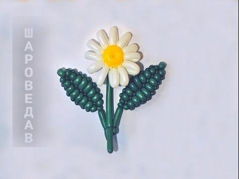 """Как сделать  цветок """"Ромашка"""" из шаров."""
