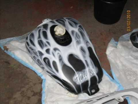 Custom Airbrushed Motorcycle by Chinnie's Custom Airbrushing.wmv
