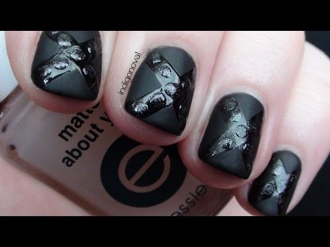 Easy Black Matte Studded Nails - Beginners Nail Art Tutorial *Re-upload*