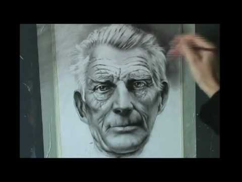 Speed drawing portrait of Samuel Beckett. Dry brush. Learn How to Draw Portrait.You Tube.Google