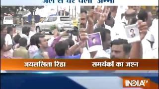 Breaking: AIADMK activists celebrate Jayalalithaa's bail - INDIATV