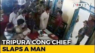 Tripura Congress Chief Slaps Man Who Attacked Sister's Convoy - NDTV