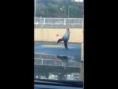 Fat Guy Has Amazing Football Skills