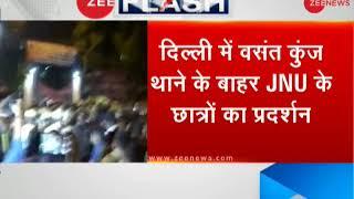 JNU students protest outside Vasant Kunj Police Station against professor - ZEENEWS