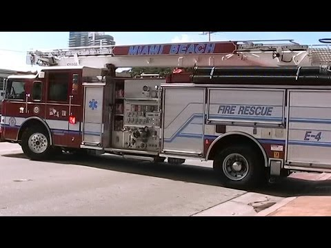 Miami Beach Fire Rescue Engine 4 responding [FL | 8/28/2012]