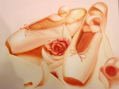 Pintar un Cuadro de zapatilla de Bailarina y Rosas
