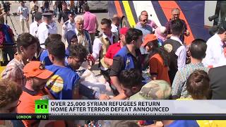 Over 25,000 Syrian refugees return home after terror defeat announced - RUSSIATODAY