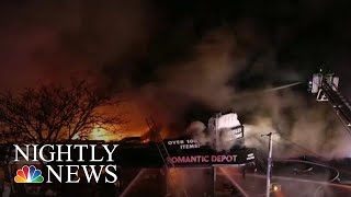 Video Captures Terrifying Explosion During Five-Alarm Fire | NBC Nightly News - NBCNEWS
