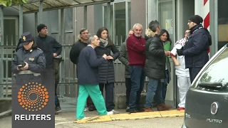 Relatives of avalanche victims and survivors gather at hospital - REUTERSVIDEO