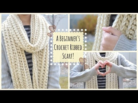 How to Crochet a Beginner's Ribbed Scarf! | Ms. Craft Nerd