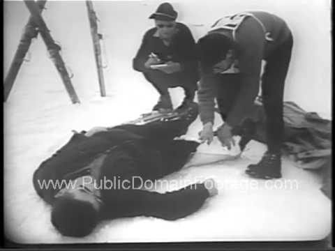 1954 Ski rescuers training on the French Alps newsreel archival stock footage