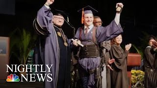 Paralyzed Student Walks To Get College Diploma | NBC Nightly News - NBCNEWS