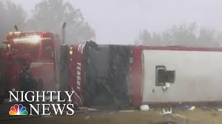 Two Killed When Tour Bus Overturns Along Icy Highway In Winter Blast | NBC Nightly News - NBCNEWS